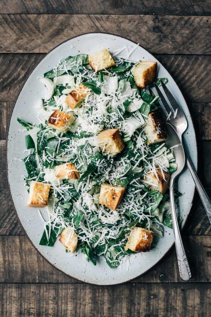 Bok Choy Caesar Salad with Spring Garlic Croutons - Dishing Up the Dirt