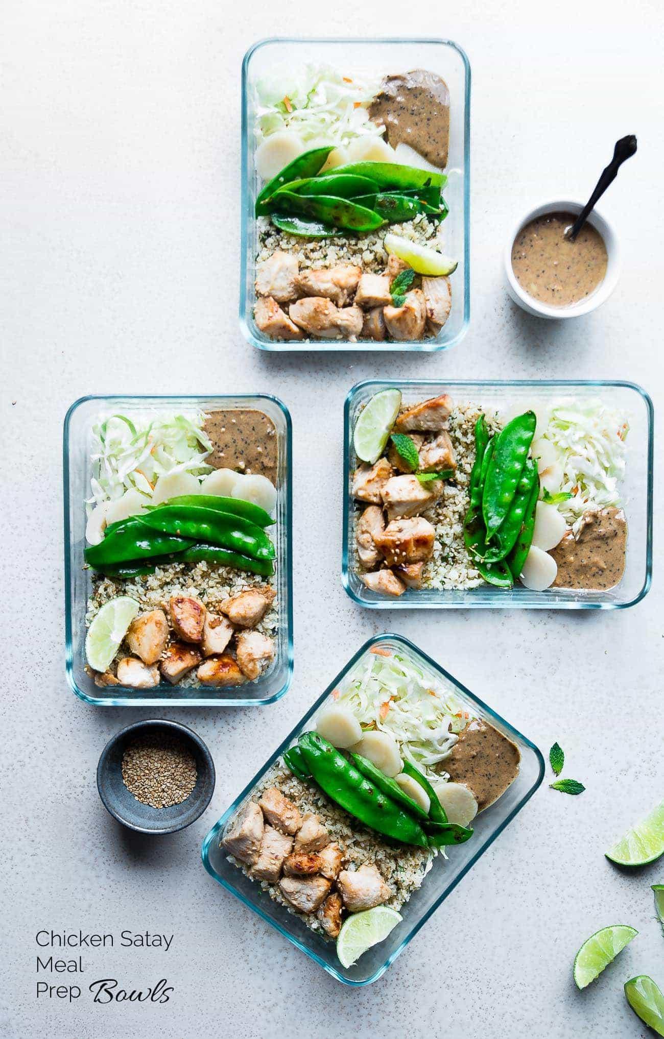Chicken Satay Meal Prep Bowls