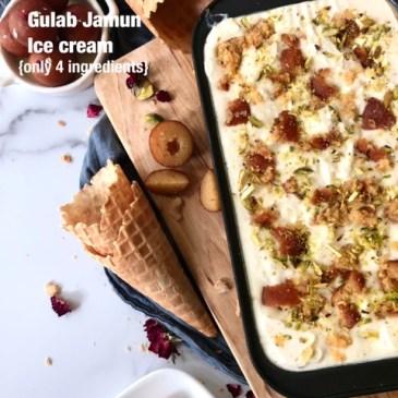 Gulab Jamun Icecream-Eggless No Churn 4 Ingredient Icecream