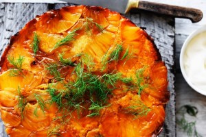 Caramelised pineapple and fennel upside-down cake recipe