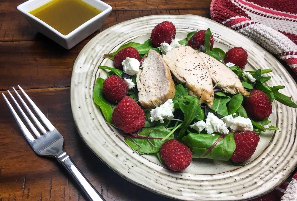 Raspberry Chicken Mixed Green Salad