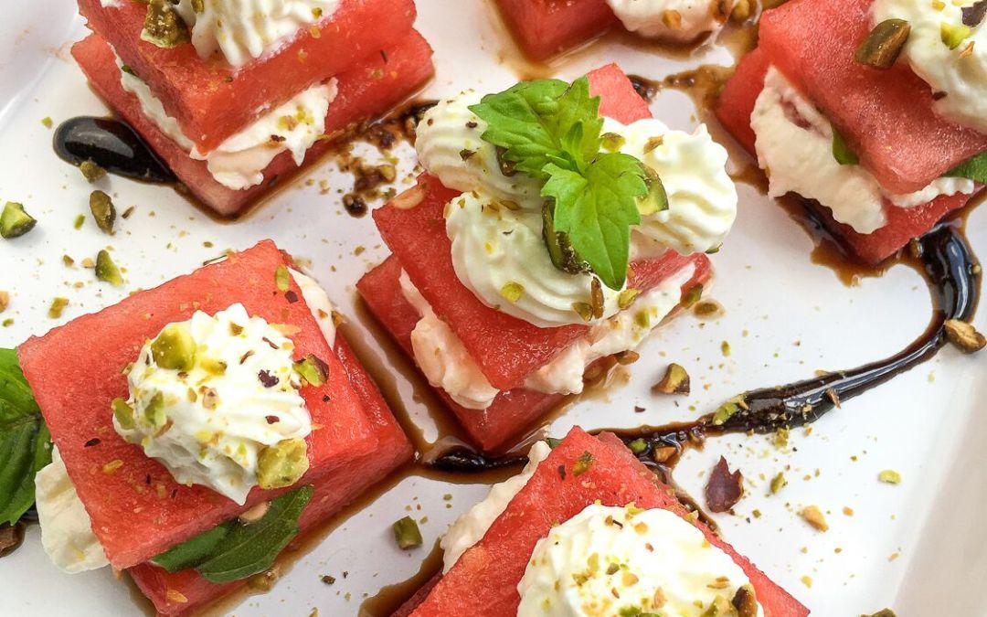 Watermelon, Whipped Feta, & Basil Bites