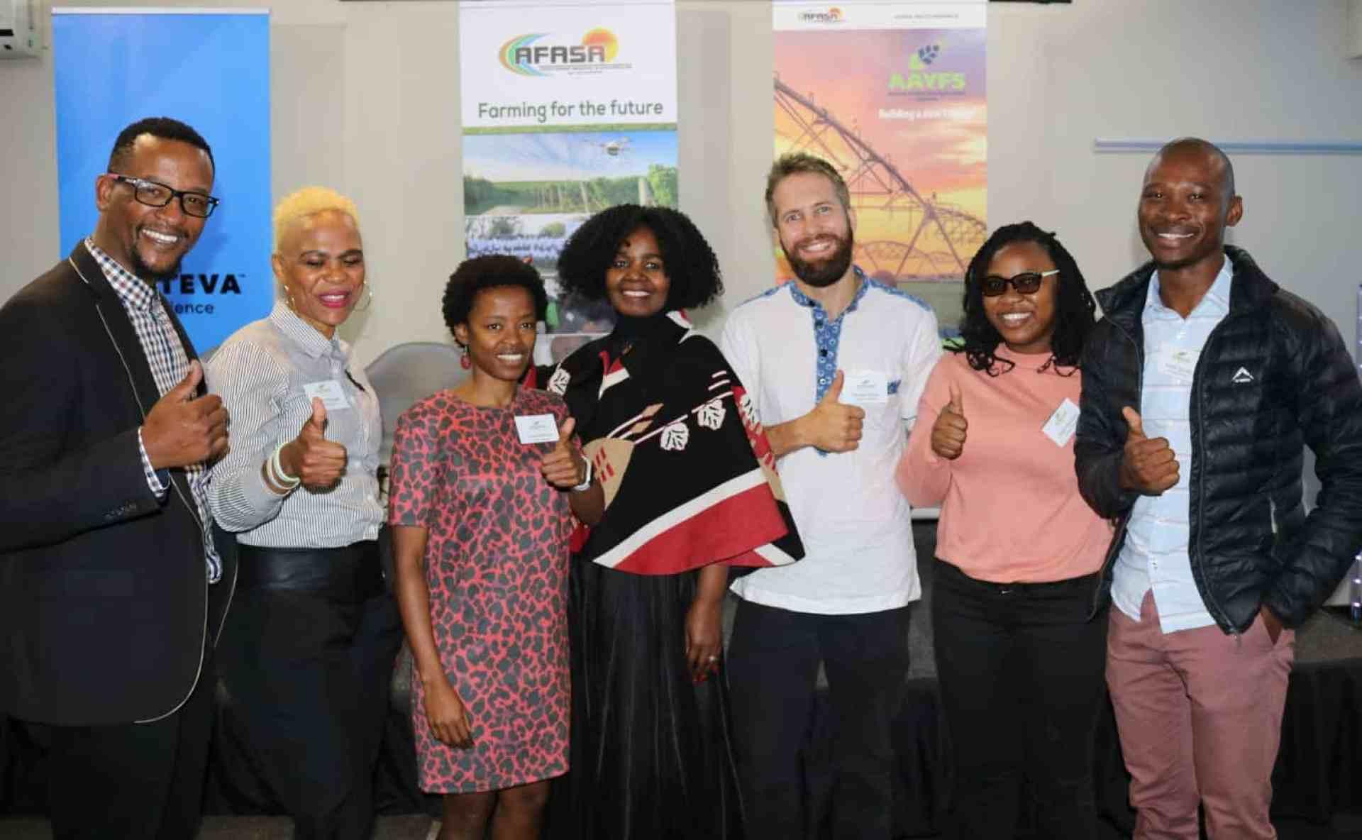 Tshiamo Dichabe, Karabo Rampete, Nono Sekhoto-Iga, Dr Vuyo Mahlati, Morgan John Brand, Andile Matukane and Andile Nqobo at the opening of the 2019 AAYFS.