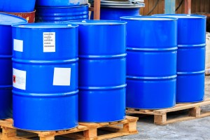 blue drums on pallet