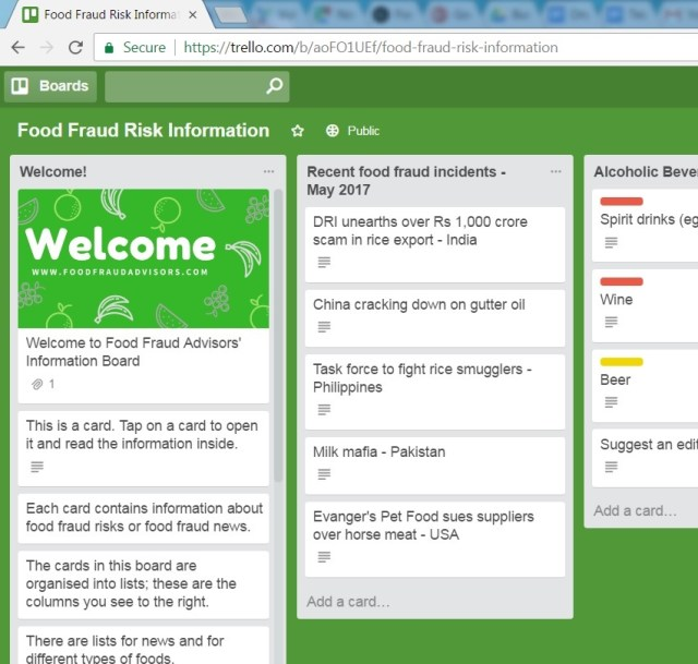 Food Fraud Risk Information Database, free and open-access