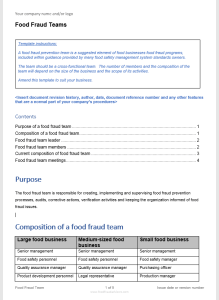 free template for food fraud teams for food safety management systems