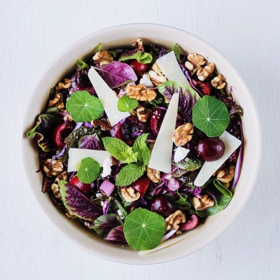 Red Spinach, Cherry and Walnut Salad - The Food Gays