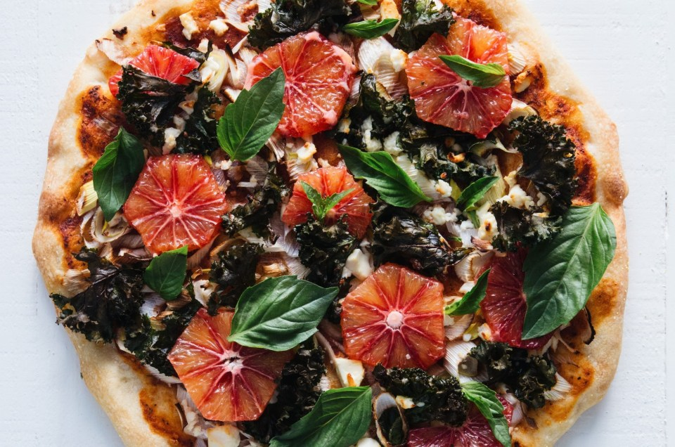 THE FOOD GAYS - Leek, Kale and Blood Orange Pizza