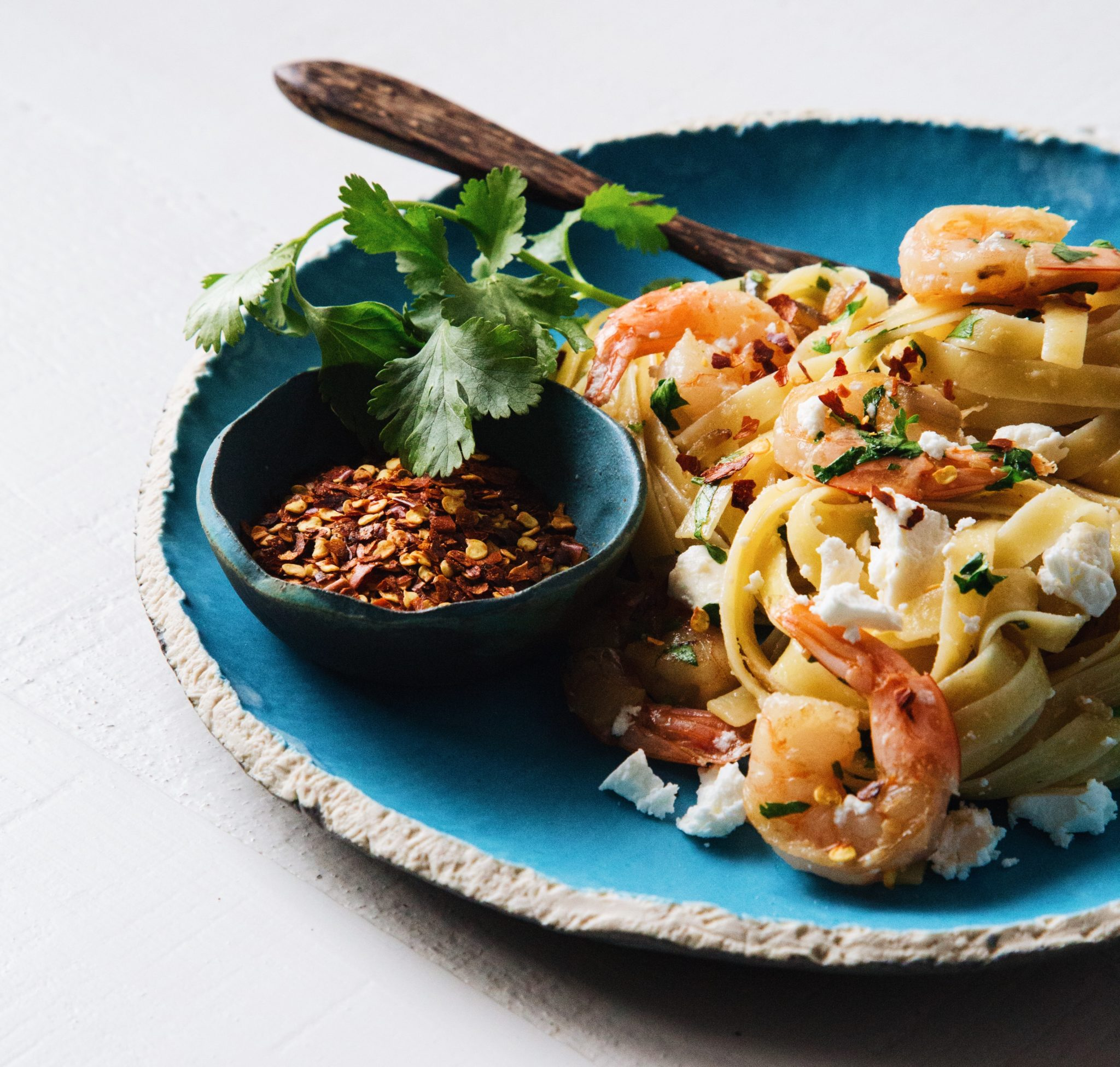 Fettucine with Chili Garlic Prawns, Feta and Cilantro