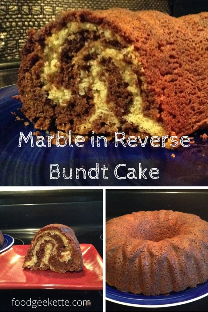 Marble in Reverse Bundt Cake from The Cake Bible - the usual mostly yellow with chocolate marble is flipped on its head in this bundt cake. Heat and convection give it great stripes without marbling the batters together.