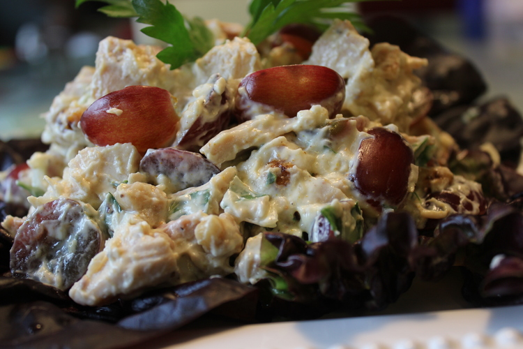 63 Curry Chicken Salad with Grapes and Walnuts