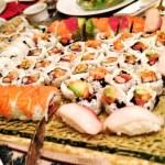 Tuna, Salmon and Shrimp Tempura Sushi Rolls