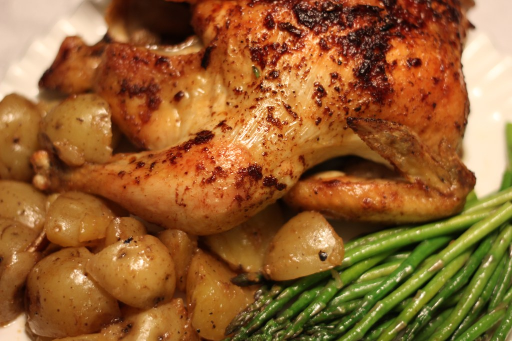 Lemon Garlic Ginger Chicken Served with Potatoes and Asparagus