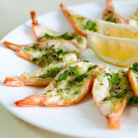 Roasted Butterflied Prawns in Garlic-Parsley Butter (Delia Smith)