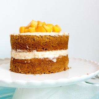 Peach Layered Cake with Peach-Vanilla Buttercream Frosting