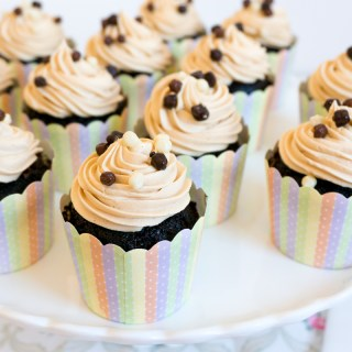 Chocolate Cupcakes with Chocolate Mousse Filling and Peanut Butter Frosting