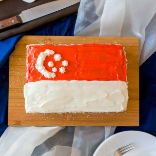 Pandan-Coconut Cake with Cream Cheese Frosting + Happy 50th Birthday Singapore!