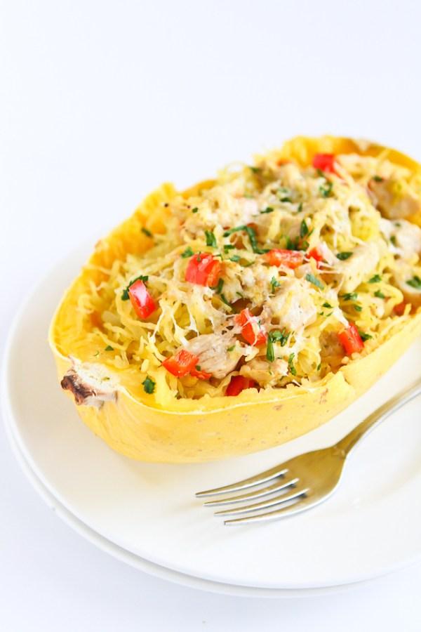 Pesto Chicken Stuffed Spaghetti Squash by Cookin' Canuck   foodiecrush.com