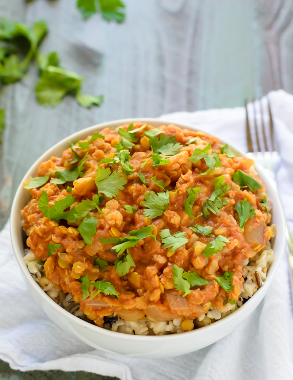Slow Cooker Red Lentil Cauliflower Curry by Well Plated   foodiecrush.com