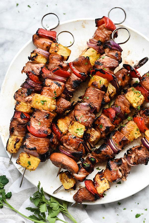 Hawaiian Chicken Skewers | foodiecrush.com #grilled #kabobs #marinade #recipes