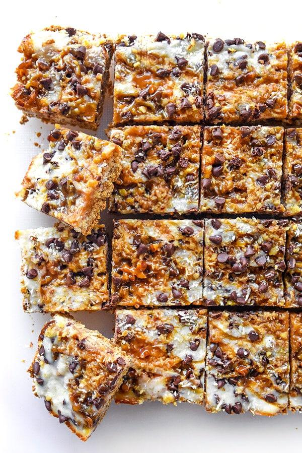 Caramel 7 Layer Bars | #recipe #easy #healthy #caramel foodiecrush.com
