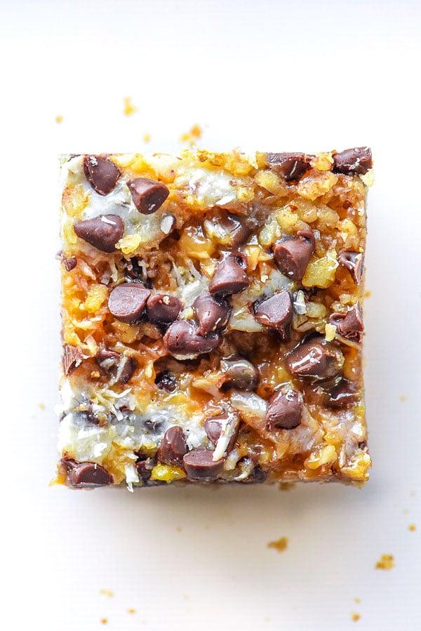 Caramel Seven Layer Bars | #recipe #easy #healthy #caramel foodiecrush.com