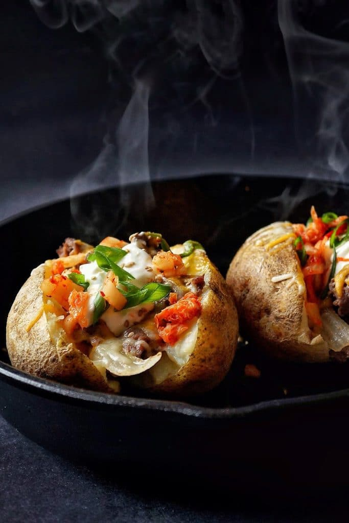 Bulgogi Stuffed Baked Potatoes from Miss Hangry Pants on foodiecrush.com