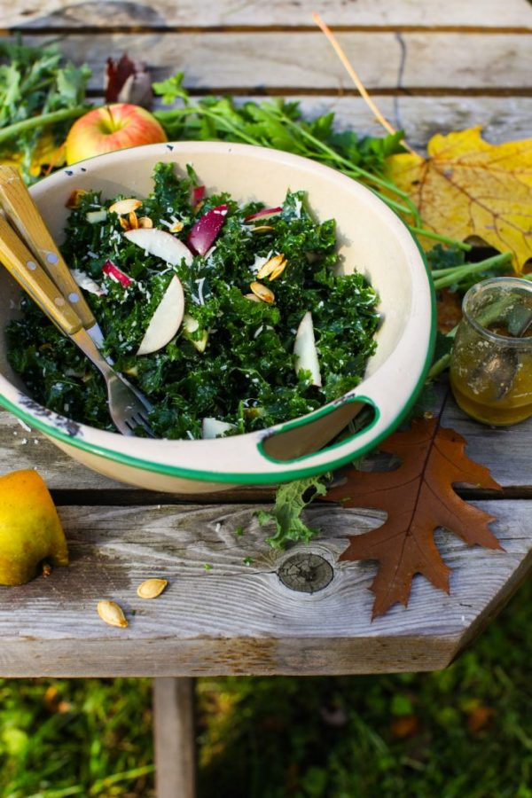 Autumn Apple and Kale Salad with Parmesan and Roasted Pumpkin Seeds by Simple Bites