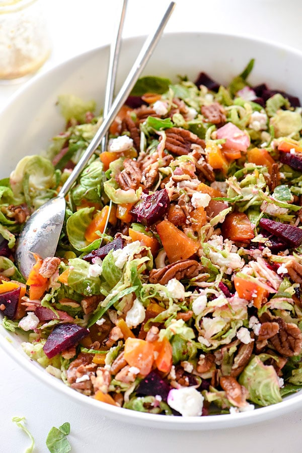 Shaved Brussels Sprouts, Roasted Beets and Goat Cheese Salad | #shaved #recipes #healthy #roasted foodiecrush.com