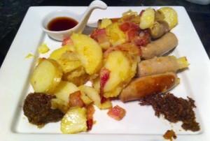 Bratwurst potatoes bacon jam cowboy jam spruce syrup