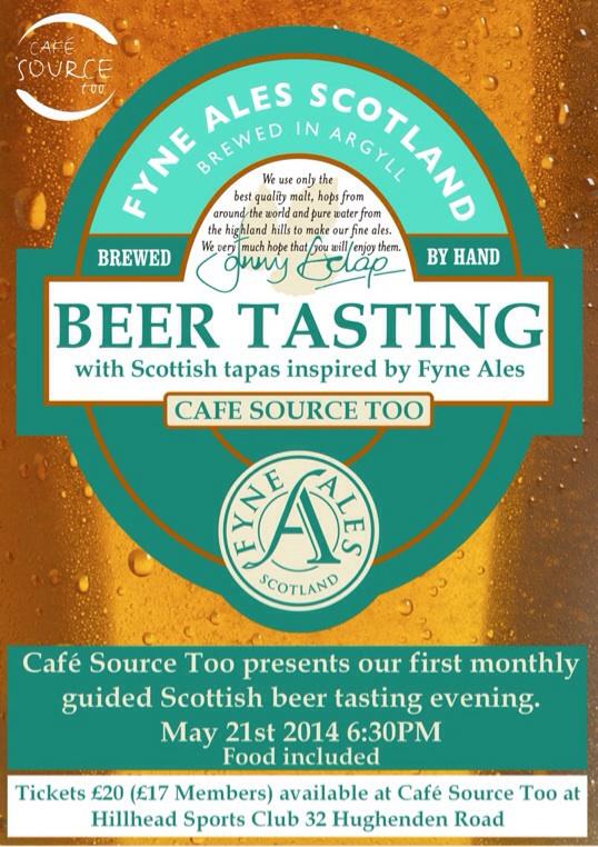 Cafe source too food drink GLASGOW Fyne ales beer drink
