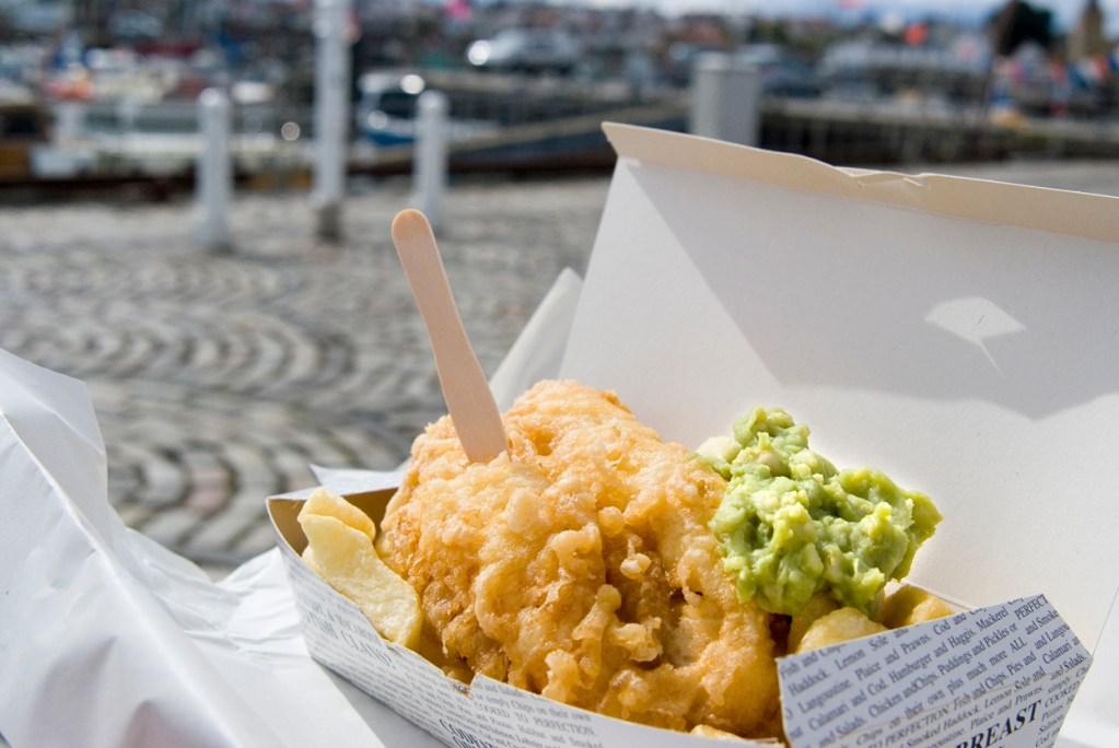 F&C Seaside with Mushy Peas & Fork