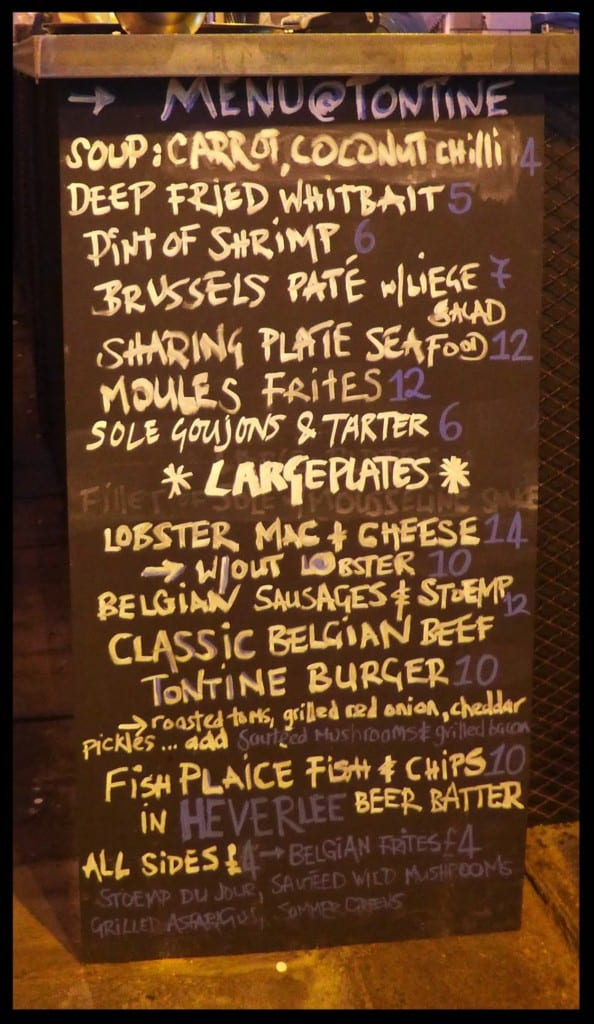 menu board heverlee tontine pop up bar glasgow