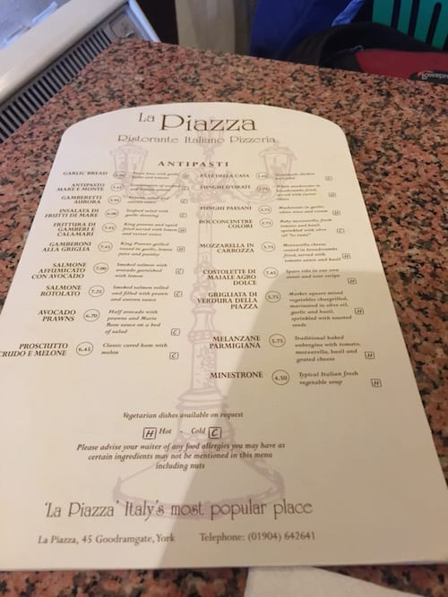 Glasgow foodie explorers food travel blog La_Piazza_York_Menu_1