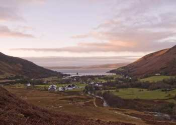whisky scotland drink arran Distillery from hills - sunset