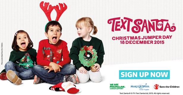 save the children fund itv text santa christmas j mper