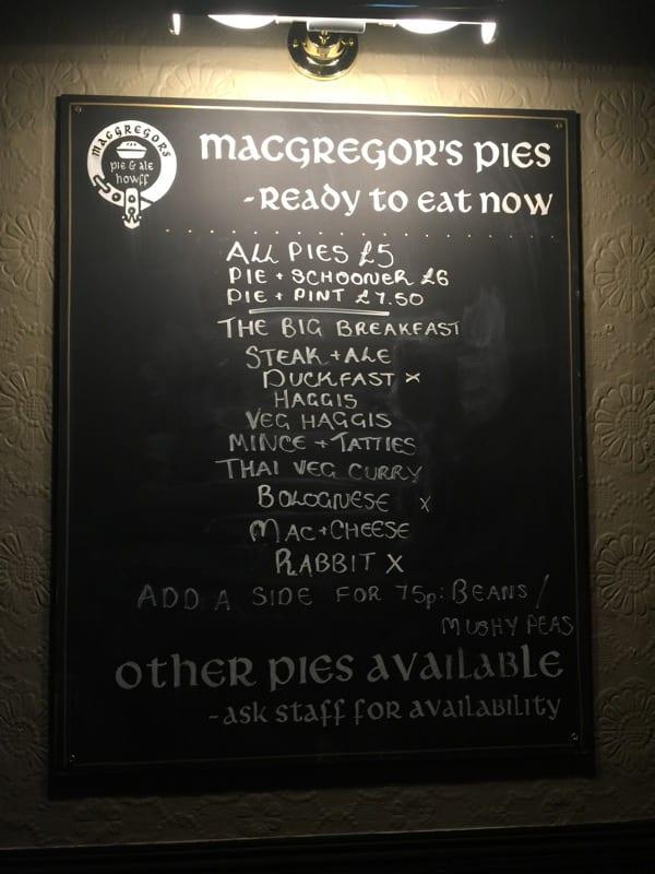 Macgregors pie ale howff Glasgow
