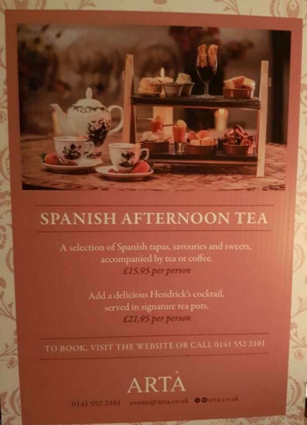 Arta Spanish afternoon tea Glasgow