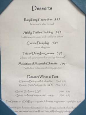Atholl Arms Dunkeld desserts