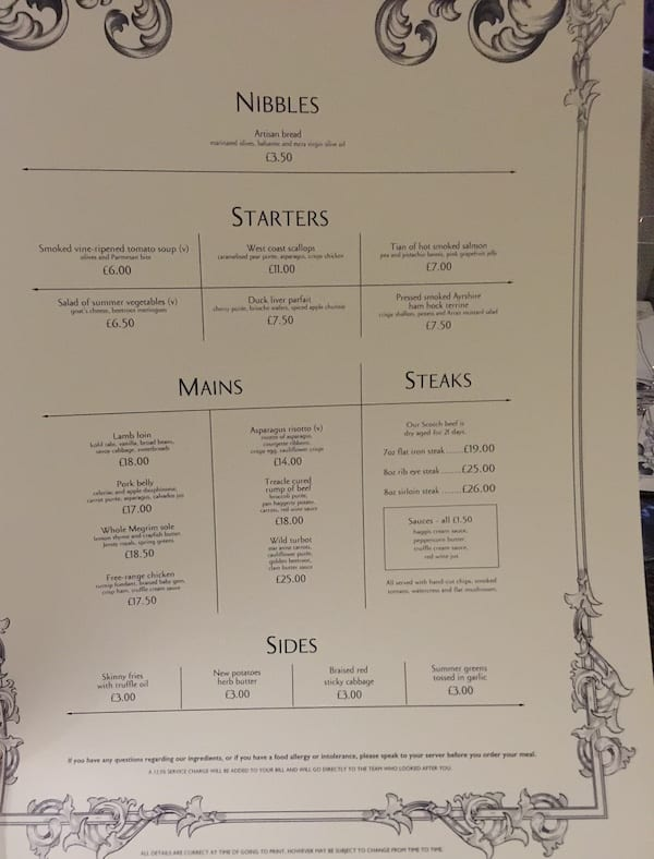 Acanthus Restaurant a la carte menu