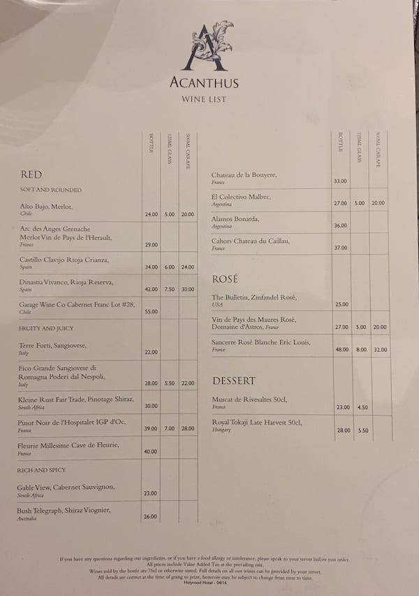 Acanthus Restaurant wine list