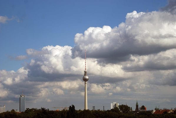 Berlin TV tower from Mauer museum