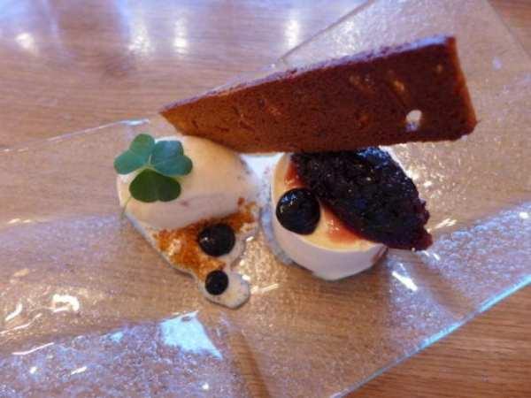 creme fraiche parfait, cherries, toasted gingerbread ice-cream