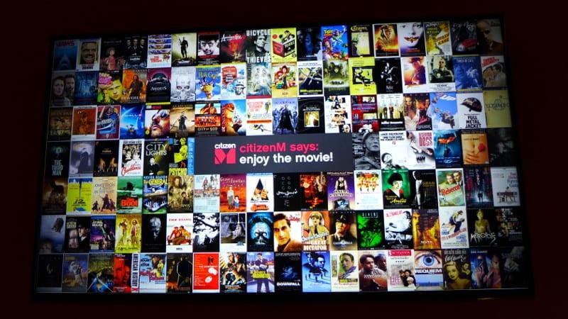 CitizenM Glasgow - movie selectionCitizenM Glasgow - movie selection