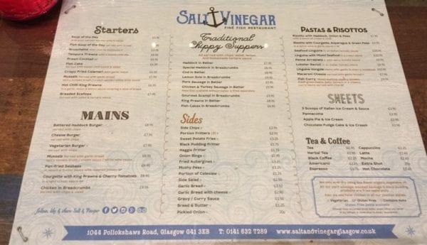 Salt and vinegar Shawlands Glasgow Menu