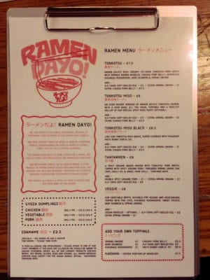 Ramen Dayo! food menu