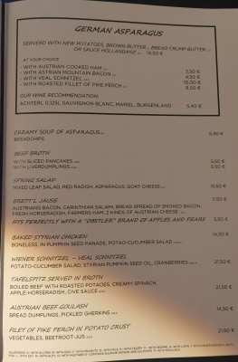 Menu Wohlfahrt's wirtshaus Austrian restaurant Berlin