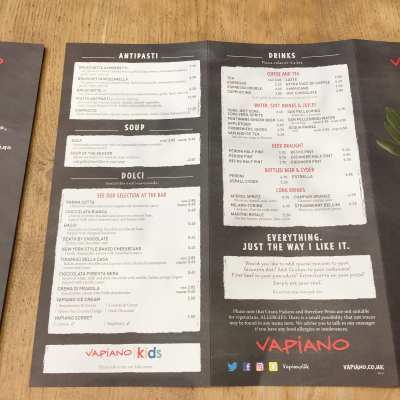 Vapiano London Glasgow Edinburgh restaurant italian Menu