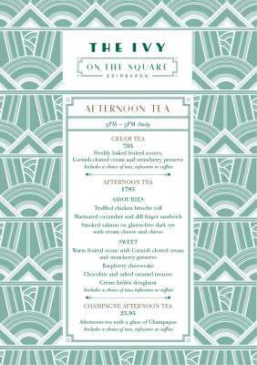 Afternoon Tea menu the Ivy on the Square Edinburgh