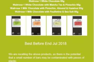 Waitrose choc bar recall